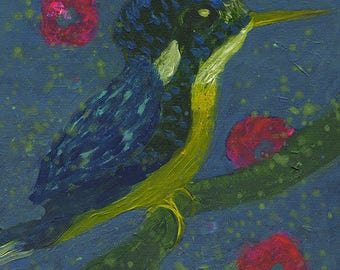 Original Painting on canvas, Martin Pêcheur - Kingfisher-