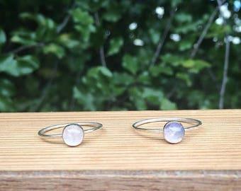 Moonstone Stack Ring / Sterling Silver Ring / Silver Moonstone Ring / Rainbow Moonstone / Small Moonstone Rings for Women / Little Moonstone
