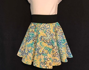 CLEARANCE!! Girls Circle Skirt with Wide Elastic Waistband; Multi-Colored Floral Circle Skirt; Girls Circle Skirt; Summer Circle Skirt