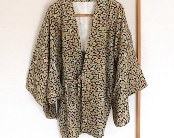 Vintage Japanese Kimono Jacket, silk kimono Jacket, Haori, antique Kimono, Douchugi, silk Jacket, hand fan printed Silk Jacket