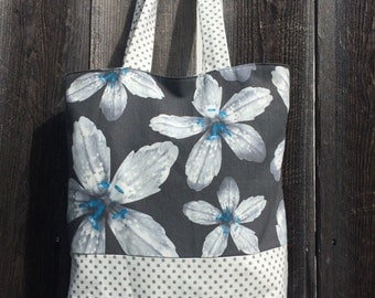 Orchid Dots Canvas Tote bag with lining