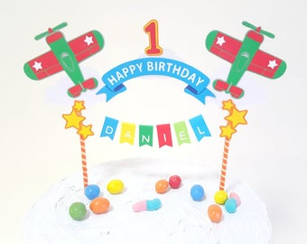Cake topper Happy Birthday airplane // colorful COLLAGE // custom name years