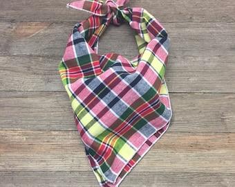 Plaid Dog Bandana, Dog Bandana, Pet Bandana, Pet Gift, Fall Dog Bandana, Christmas Bandana, dog handkerchief, Dog Scarf