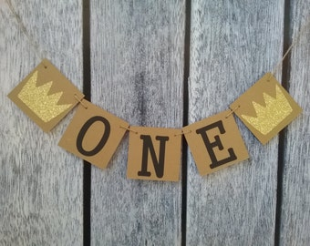 Where the wild things are first birthday banner, a wild one banner, one birthday banner, first birthday sign, birthday banner, baby shower