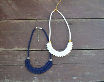 Rope necklace/ White Necklace/ Dark blue/ Necklace/ Bib necklace/ Necklace for her/ Gift for her