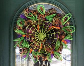 Halloween Mesh Wreath with Spider Web