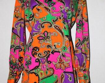 Vintage 60's Print Mini Dress by ALEX COLEMAN California Boho Festival Hippy Dress-Long Sleeves Amazing Colors! S/M