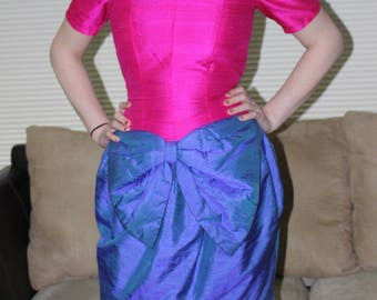 Retro 80's AMANDA YEOWARD Raw Silk Avant Garde Prom Formal Dress Made in England Hot Pink and Blue Small/XS Labeled Size 10