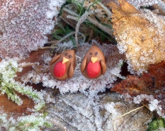 EarEarDesigns - Handcrafted 'Red Robins' Earrings - Unique - Red, Brown, Black and Orange - Silver-Plated - Polymer Clay- Christmas