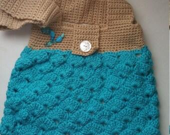 Blue/Tan Purse with Medium Strap/Crocheted Purse/Medium Blue Bag
