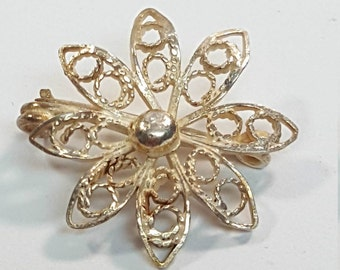 Vintage Sterling Silver Filigree Flower Brooch Pin
