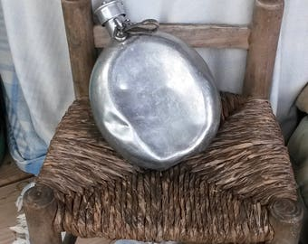 Water Flask, Metal Flask, Battered Flask, Old Water Bottle, Camping Water Canteen