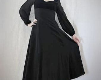 True Vintage 1970s Laura Ashley Velvet and Chiffon Victorian Black Dress Size 8