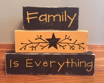 Family is Everything Primitive/ Country/ Distressed Custom Wood Block Set Stacker