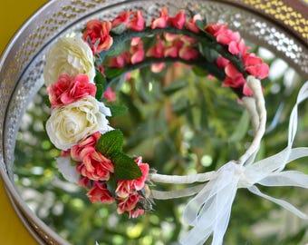 "The ""Spring Equinox"" Floral Halo Crown // garden wedding, flower crown, bridal crown, wedding headpiece, bridal shower, mini roses, peonies"