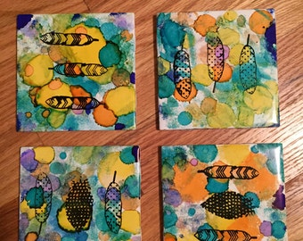 Feather Coasters - Set of 4