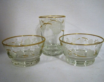 2 Small Bowls, With Small Matching Glass - White Leaves/Berries, Connectedby a Gold Vine