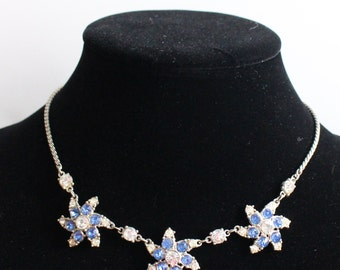 SO # 1021 Vintage Silver Tone Clear and Blue Rhinestone Necklace with Three Swirl Adornments