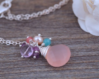 Rose Quartz Necklace - Faceted Rose Quartz - Gemstone Jewellery on Sterling Silver Necklace
