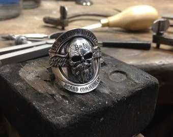 """""""Bearded & Lifestyle"""" club ring 925 sterling silver. Beard club biker ring. Beard bearded skull ring. Pogonophile."""