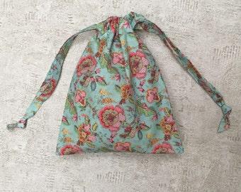 smallbag unique en tissu français vintage bleu/vert fleuri rose - sac coton