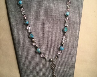 Item # 1090 – Blue, Pink & Black Beaded Lanyard Necklace