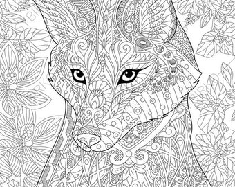 Fox 2 Coloring Pages Animal Book For Adults Instant Download Print