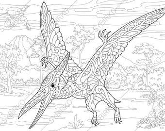 Adult Coloring Pages Dinosaur Pterodactyl Zentangle Doodle For Adults Digital Illustration