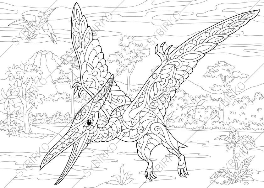 Adult Coloring Pages Dinosaur Pterodactyl Zentangle Doodle
