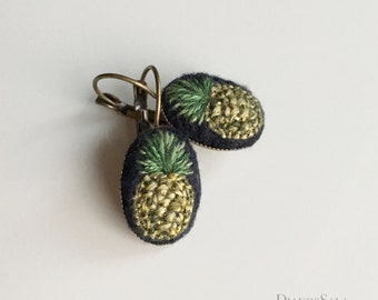 Hand embroidered Sweet Pineapple earrings