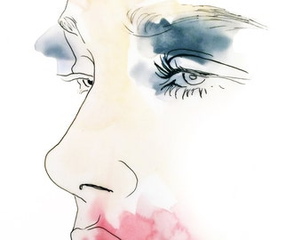 Ink Spot Face Illustration - Fine Art Print
