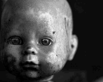 Threnody's Child - 8 x 10 black and white still life photograph, dark , vintage doll, minimal, grunge