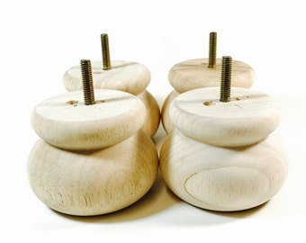 """Turned Hardwood Legs 2-3/4"""" Tall x 3-3/4"""" Round Legs Sofa Legs Couch Legs Ottoman Legs with 5/16"""" Hanger Bolts  (Set of 4)"""