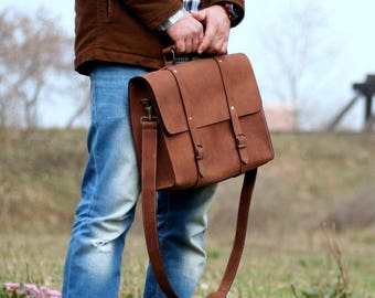 Leather Satchel Bag - Leather Briefcase - Laptop bag - Messenger bag - Shoulder Bag - Crossbody Bag - MacBook Leather Bag - Grunge bag