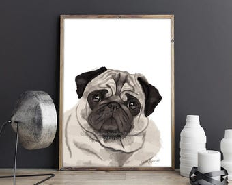 Pug Art Prints, Pug Painting, Pug Gift, Pug Art, Pug Decor, Pug Wall Art, I Love Pugs, Pug Portrait, Pug Dog Art, Pug Print, Pug Lover Gift