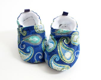 Paisley baby shoes, baby shoes, soft sole, baby booties, toddler shoes, baby girl shoes, blue sea paisley print with metallic gold accents