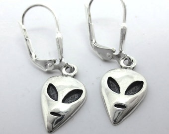 Alien - UFO - Flying Saucer - Area 51 - Roswell - Space Man - Sterling Silver Leverback Earrings - 160728 - Free Shipping to the USA