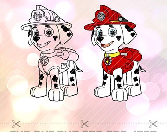 Paw Patrol Marshall SVG DXF Vector LAYERED Cut Files Cricut Designs Silhouette Party Supply Decoration Vinyl Decal Craft Stencil Template