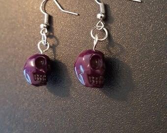 Purple acrylic skull beaded drop dangle earrings with silver detail