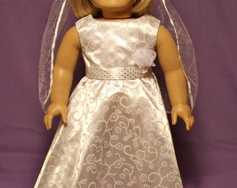 Wedding Dress with Veil-Made to fit 18 inch Dolls like American Girl Doll Clothes