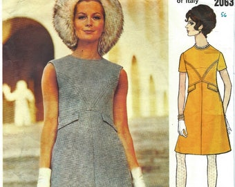 "Vintage 1960's Sewing Pattern Vogue Couturier Design Valentino Dress Bust 36"""