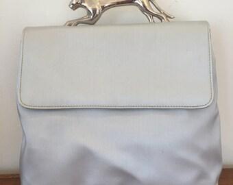 Vintage Silver metal PANTHER handle Bag Crossbody Messenger purse