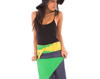 Reversible Cotton Skirt Blue Denim Yellow Green with Detachable Pocket Long Length