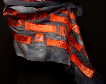 Haiku Wrap a l'Orange - hand-dyed, hand-felted wool wrap with a touch of silk