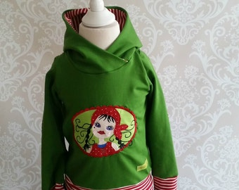 Hooded sweater Milli Tausendschön sweat green red 56-158
