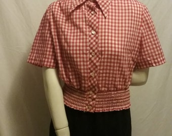 Vintage 1950's red and white gingham durable press top
