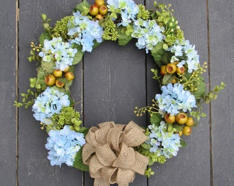Summer Blue Hydrangea Wreath with Burlap Bow - Spring Wreath for Front Door - Burlap Bow - Wedding Hydrangea Wreath - Mothers Day Wreath