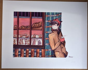 Fine Art Giclée Print 'Treats' Limited Edition from Original Watercolour Illustration 39 x 30.5 cm