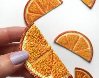 Orange Slice Patch, Embroidered, Iron-on Orange Patch, Small Orange Patch, A Slice of Orange Patch, Breakfast Lover's Patch, Snack Patch