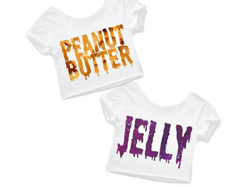 Best friends, Peanut butter and Jelly, Pb and J, Best Friend Food, Matching best friends, Bff shirts, Plus size too! EACH Sold Separately